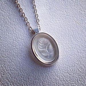 Jewelry - Petite white glass rose intaglio pendant